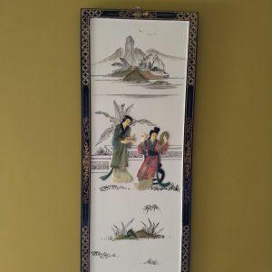 4 Lakhouten panelen met afbeelding in Japanse stijl