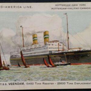 25 ansichtkaarten van schepen uit de Holland Amerika vloot