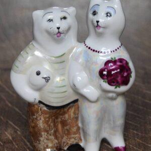 Porselein figuurtjes van 2 katten USSR