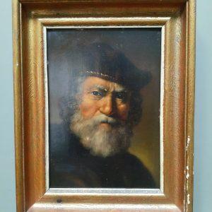 Portret oude man in olieverf op paneel