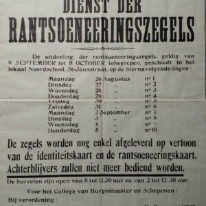 aanplakbiljet rantsoeneeringszegels stad Mechelen 1940