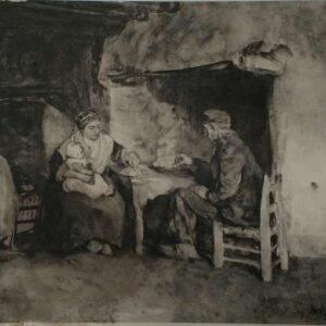 Heliogravure van interieur door Albert Neuhuys