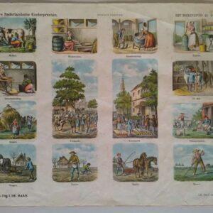 Centsprent met 13 afbeeldingen van het boerenleven