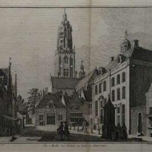Gravure, De markt , het stadhuis en kerk te Rhenen, door C. Philips naar Jan de Beyer