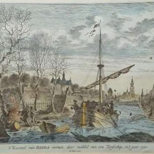 Gravure, 't kasteel van Breda verrast, door middel van een Turfschip, in 't jaar 1590