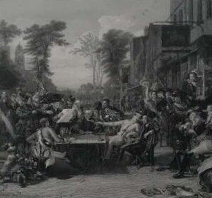 Gravure, Chelsea pensioners reading the gazette of the battle of Waterloo, naar D. Wilkie