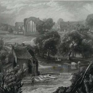 Gravure, Egglestone abbey, near Barnard castle door J.W.M. Turner
