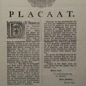 Placaat van de Staten van Holland en Westvriesland, d .d. 16 oktober 1745