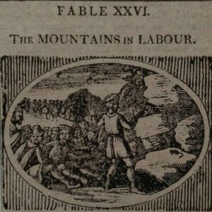 Gravure, The mountain in Labour door Thomas Bewick, uit Bewick's Select Fables of Aesopand others