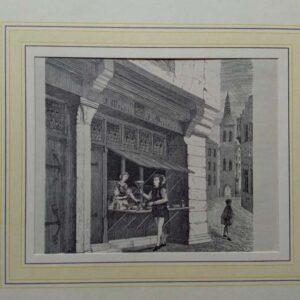 19th century Engraving Welserscher Kaufladen in Augsburg