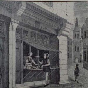 19de eeuwse Gravure Welserscher Kaufladen in Augsburg