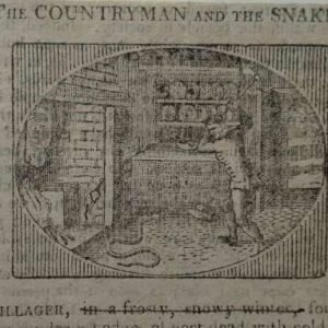 Gravure, The Countryman and the Snake door Thomas Bewick, uit Bewick's Select Fables of Aesop and others