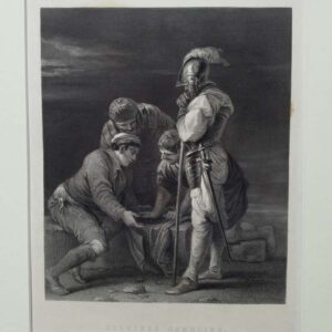 Engraving by L Stocks after a painting by Salvator Rosa, Soldiers playing the dice