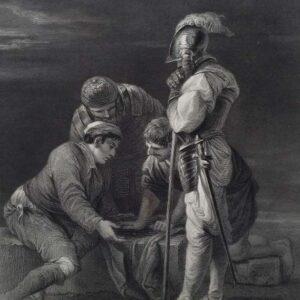 Gravure door L Stocks naar een schilderij door Salvator Rosa, Dobbelende Soldaten