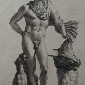 Gravure, Statua di Meleagro con la testa del cinghiate calidonio, da tui ucciso, door Robert van Audenaert