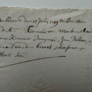 Publicatie van De staten van Holland en Westvriesland, 5 juli 1749