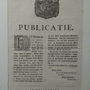 Publicatie door de Staten van Holland en Westvriesland, 23 februari 1736