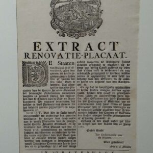 Extract renovation announcement by The states of Holland and West Friesland, June 16, 1761