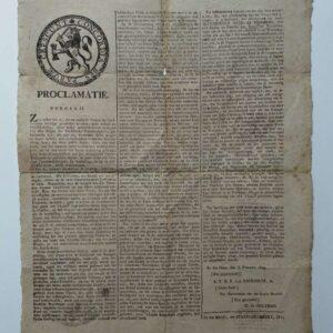Proclamatie door de Bataafse republiek, aankondiging van een algemene dank en biddag