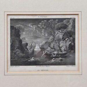 Engraving Le déluge by Edme Bovinet after Nicolas Poussin