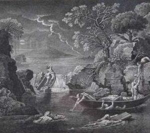 Gravure Le déluge door Edme Bovinet naar een schilderij door Nicolas Poussin