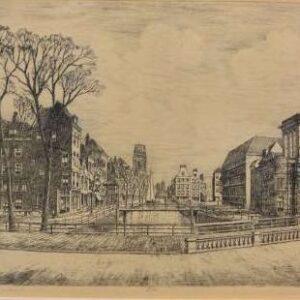 Ets, Rotterdam, Delftse vaart en de poort, door Marius Janssen.