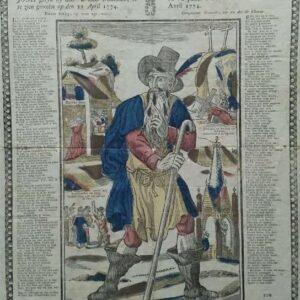 Houtsnede, Het waer afbeéldsel van den wandelenden jood gelyk hy doór Brussel trekkende, is te zien geweést op den 22 april 1774