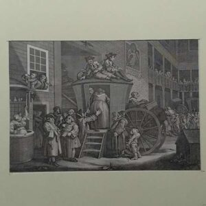 Engraving,  A Country Inn Yard at Election Time, after William Hogarth