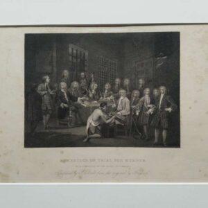 Engtaving, Bambridge on trial for murder, after William Hogarth