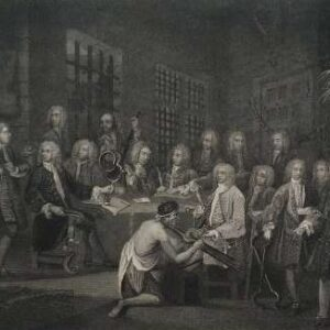 Gravure, Bambridge on trial for murder, naar William Hogarth