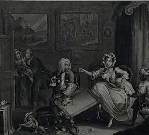 Gravure, The harlot's progress, naar William Hogarth