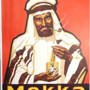 Jaren 30 reclameaffiche voor de Mekka Tabak van de tabaksfabrikant Gebruder Crüwel