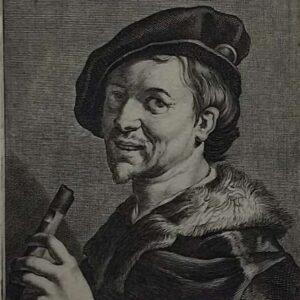 Gravure van een Fluitspeler, door Cornelis Bloemaert naar een schilderij door Dirck van Baburen