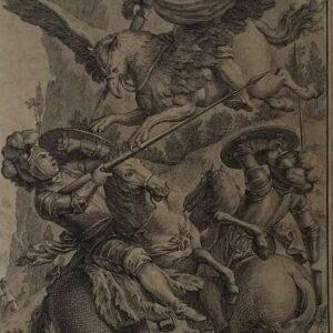 Gradasse en Roger in strijd met de magiër Atlante op zijn hippogrief