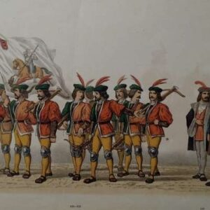 Kleurenlitho, Amsterdams korps kruisboogschieters met hun officieren