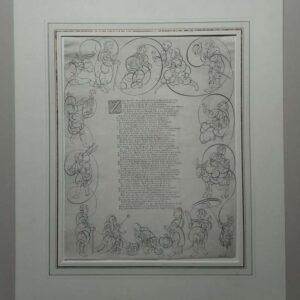 Combinatie druk en kaligrafie decoratie, kerstverhaal