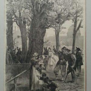 Gravure, stadsplein door Edmond Morin