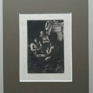 Etching of card players