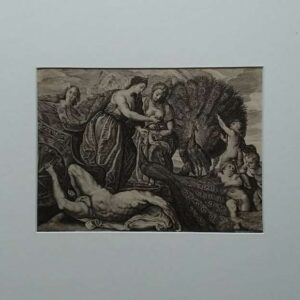 Engraving, Juno and the peacock by Magdalena van der Passe after Peter Paul Rubens