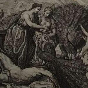 Gravure, Juno en de pauw door Magdalena van der Passe naar Peter Paul Rubens