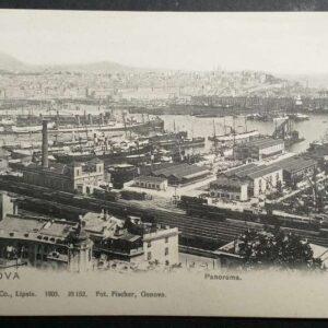 Set van 8 vroege briefkaarten in zwart-wit, met als onderwerp de stad Genua