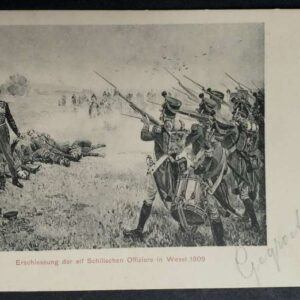 2 early postcards, with a representation of the conviction and execution of the Schill officers in Wesel