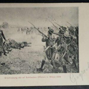 2 vroege briefkaarten, met een weergave van de veroordeling en executie van de Schill officieren in Wesel.