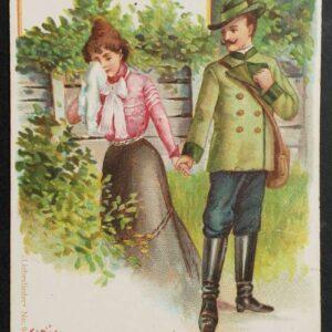 Vroege (19de eeuw) lithografische wenskaart, Duits, uit de serie: Liebeslieder