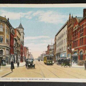 Chromo lithografische kaart uit 1917 met daarop Washington Avenue in Newport, West Virginia