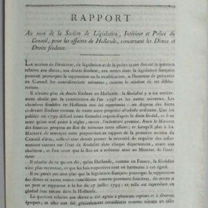 Rapport Au nom de la section de législation, intérieur et police du conseil, pour les affaires de Hollande, concernant del Dîmes er droits féodaux door C.F. Van Maanen