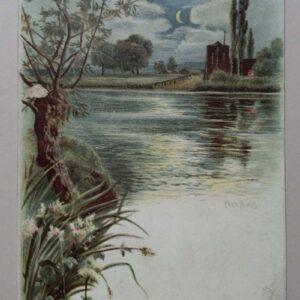 Chromo lithografisch reclameplaatje voor een kermis doolhof