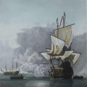 Gravure, Het kanonschot, door Chistiaan lodewijk van Kesteren naar Willem van de Velde de Jongere.