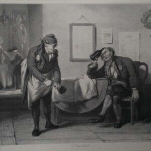 Litho van een kroeg door A. C. Nunnink naar een schilderij door David Bles