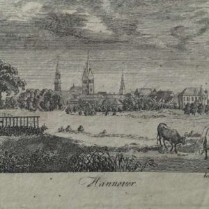 Gravure, gezicht op Hannover
